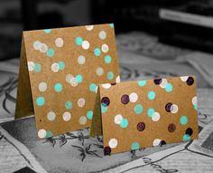 Hand-Stamped Mini Kraft Cards  Set of 10 by MGardeski on Etsy