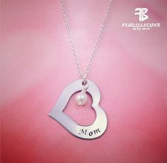This beautiful hand-stamped Mom silver heart necklace makes a great gift for Mom on Valentines Day, Mothers Day, a birthday or any reason to