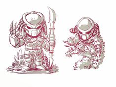Some Chibi Predator sketches from this mornings warm up. #mangastudio #predator #fanart #chibi #sketches #dereklaufman