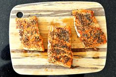 Paleo Peppered Salmon | Fed and Fit ** made with montreal steak seasoning & butter ** put in the oven for 15 minutes at 425. Yummy delicious and easy easy easy. Will make again!