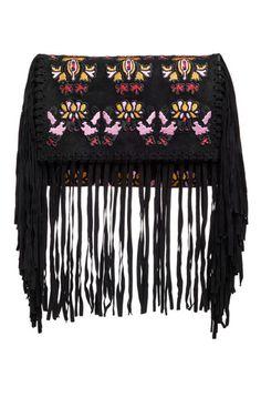 Black Suede Shiloh Embroidered Fringe Bag by Isabel Marant