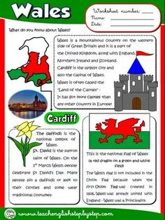Wales - Worksheet (B&W version) English Day, English Reading, English Course, English Class, English Lessons, English Grammar, Teaching English, Learn English, English Language
