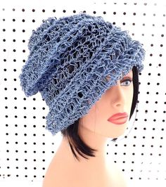 Crochet Sun Hat for Women  Womens Hat Hemp Hat  Crochet Beanie Hat Light Blue Hat OMBRETTA by strawberrycouture by #strawberrycouture on #Etsy