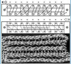 Loom Knitting stitches - work and diagram # 32 by felicia