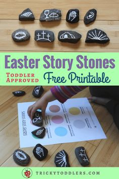 How to make Easter Story Stones, with a FREE printable sequencing page with corresponding scriptures. Great for teaching toddlers and preschoolers during Holy Week! #Teachingtoddlers