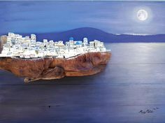 Amazing Santorini oil painting with recycled wood
