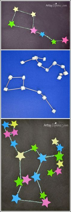 STEM Activities: Learning about Constellations - Crafts, Sculptures, & iPad App (Earth Science) Kid Science, Preschool Science, Preschool Crafts, Science Space, Fun Crafts, Constellations, Constellation Craft, Constellation Activities, Earth And Space