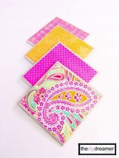 DIY::Bright Floral Tile Coasters!!! (Also great Gift) !