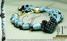 NEW COLLECTION 2012 -  Glamushi BLACK (EXCLUSIVE) Material: GoldField Color: Gris & Negro Dije Central: Corazón Swarovsky (Negro) Swarovski : Negro
