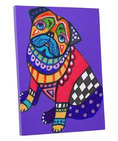 Pug Folk Art Ceramic Framed Tile by Heather Galler - Ready To Hang Tile Frame Gift Paint Your Pet, Pug Art, Dog Poster, Dog Shower, Poster Prints, Art Prints, Tile Art, Mosaic Art, Mosaics