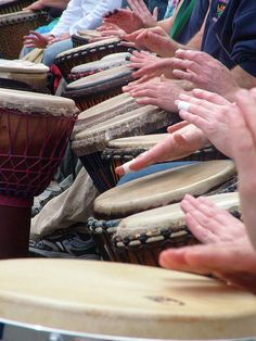 Many hand drums... hands, hearts and souls with rhythm...