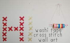 DIY washi tape cross stitch wall art
