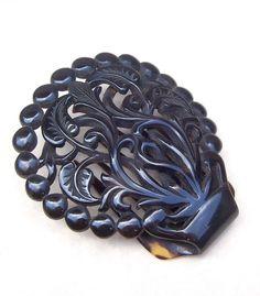 Victorian Hair Comb Circular Pre Ban Tortoiseshell Hair Accessory.