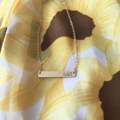 Alpha Delta Pi Sorority Bar Necklace // A-List Greek Designs // Custom Sorority Jewelry www.alistgreek.com