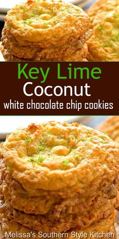 Island inspired Key Lime Coconut White Chocolate Chip Cookies are to die for. They're a bite of sunshine that never last very long in your cookie jar. Key Lime Desserts, Cookie Desserts, Cookie Recipes, Dessert Recipes, Coconut Desserts, Easter Desserts, Cookie Favors, Strawberry Desserts, Dinner Recipes