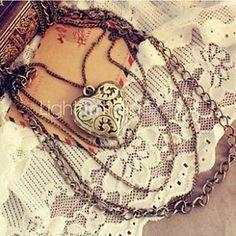 USD $ 2.03 - Retro Love Long Multilayer Pendant Necklace