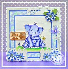 Designed by Laine. Sweet elephant creation. I forgot image - Mo Manning  Spectrum Noir markers/pencils: HBQ, HB2, HB3, LG2, LG3, CT2, + 14, 22, 47, 81, 82, 118, 120. #spectrumnoir #cute #elephant #crafting