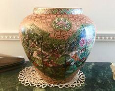 On Sale Chinese vase porcelain landscape scholars and geisha village hand painted signed and hallmarked  vase bowl
