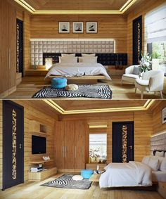 Asymmetrical headboard.Wood paneled bedroom and zebra striped rug adds a surprising splash of safari.