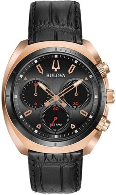 Bulova Men's Curv Chronograph Watch in Rose Goldtone Stainless Steel with Black Leather Strap Bulova Watches, Color Dorado, Swiss Army Watches, Casual Watches, Elegant Watches, Stylish Watches, Luxury Watches For Men, Color Negra, Stainless Steel Bracelet