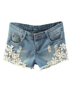 Washed Denim Shorts with Crochet Lace Flower Details