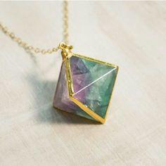 Large Beautiful Fluorite Necklace, Rainbow Fluorite Stone