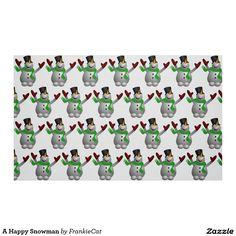 A Happy Snowman Fabric