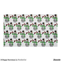 A Happy Snowman Fabric