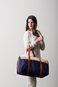 Canvas Duffle Bag Striped Navy Weekender Bag Large by SpicerBags