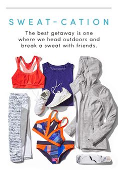 Pack your bag for a SWEAT-CATION. Shop all of these looks at Athleta.com