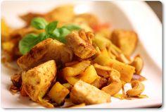 wok, kylling og gurkemeie