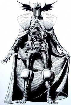 Judge Dredd Database: Page 21, Judge Fear Close-Up Comic Art