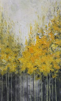 Yellow abstract acrylic painting done with palette knife on canvas TITLE: Autumn SIZE: 12 x 36 MEDIUM: Acrylic. Protected with a semi-gloss varnish. More