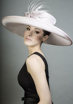 Rachel Trevor-Morgan Millinery - Pink straw sidesweep picture hat feather claws and silk flower