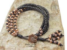 4 Strand Black And Copper Seed Bead Leather Bracelet - Seed Bead Leather Wrap For Women - Boho Leather Bracelet (4ST6) by CinfulBeadCreations on Etsy