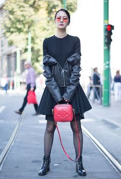 Browse the Best Street Style Outfits from Milan Fashion Week Spring 2017 at @StyleCaster | black off-the-shoulder moto jacket, red accent handbag