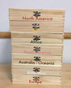Make our own Continent Boxes Only-All 7. This lot of 7 is by Virtualmontessori @Etsy