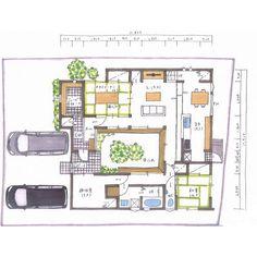 清家修吾さんはInstagramを利用しています:「. 【ボツプラン100】 中庭が光や広がりを効果的に演出していて楽しそうな間取りやね(^。^) 窓サイズによっては南東の和室が夏暑く冬寒い部屋になるから、要注意。 .…」 Japanese House, House Plans, New Homes, Floor Plans, Layout, Flooring, How To Plan, Architecture, Room