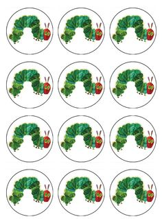 Very Hungry Caterpillar - ABC Edible Cake Art  Caterpillar birthday party supplies  Edible Image for cupcake toppers. Yes you can EAT these cupcake toppers! No plastic toppers to throw away, no mess! DIY Birthday cake and cupcake