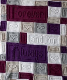 "This crocheted blanket makes a wonderful wedding or anniversary gift. An original design, the blanket when finished says, ""Forever and for Always."" The entire blanket requires only three crochet stitches - chain stitch, single crochet and the popcorn stitch. This is a pattern only and is not the finished product. The pattern includes the instructions, chart, a list of materials and the yarn amounts needed for a finished blanket approximately 45"" x 54"". The pattern can be customized to your…"