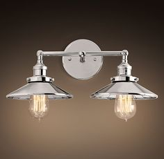 RH's 20th C. Factory Filament Reflector Double Sconce:Evoking early-20th-century industrial lighting, our reproductions of vintage fixtures retain the classic lines and exposed hardware of the originals. Designed to showcase the warmth of Edison-style filament bulbs.