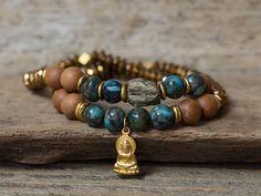 Buddha Bracelet, Pyrite Bracelet, Sandalwood Bracelet, Stacking Bracelet, Stretchy Bracelet, Yoga Bracelets, Mala Bracelets, Boho Bracelets by AlisonStorryJewelry on Etsy https://www.etsy.com/listing/269831214/buddha-bracelet-pyrite-bracelet