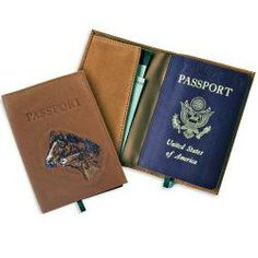 horse gifts, leather goods -Leather passport holder -Horse design