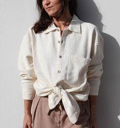 Vintage cream cotton button down long shirt.size L
