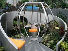futuristic garden Contemporary Planters, Contemporary Garden Design, Home Garden Design, Modern Planters, Patio Design, Garden Modern, Modern Gardens, Modern Design, Planter Box Designs
