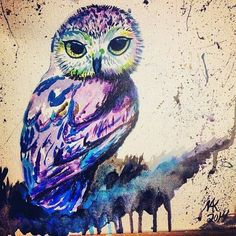 Amazing great painting. .!!   Credit : @cunningowlcreations -  Psyche Owl  Currently on sale at the shop! . .  For amazing owl photos and videos follow @owl.gifts #owl #owls #owllove