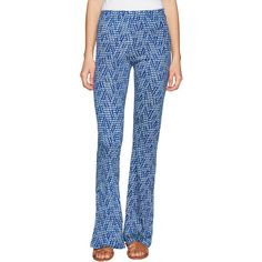 Raga Women's Printed Bell Bottom Pants - Blue - Size L ($39) ❤ liked on Polyvore featuring pants, blue, high-waisted bell bottoms, bellbottom pants, print pants, blue pants and high waisted trousers