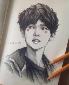Image may contain: drawing Kpop Drawings, Cool Art Drawings, Easy Drawings, Art Sketches, Boy Drawing, Manga Drawing, Kpop Fanart, Fan Art, Anime Sketch
