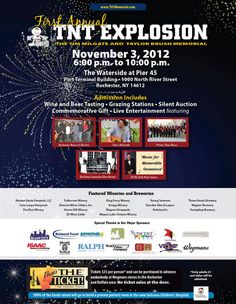 Come join Glenora Wine Cellars at the 1st Annual TNT Explosion November 3, 2012 6-10pm at The Waterside at Pier 45, Rochester NY, Wine & Beer Tasting, Grazing Stations, Silent Auction, and Live Entertainment.