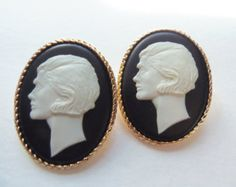 "Chanel ""Coco"" Cameo Portrait Clip Earrings"